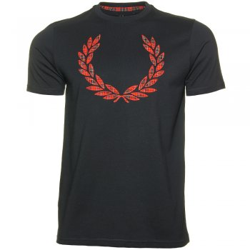Fred Perry Tee Shirt in Navy Red Tartan Laurel Check