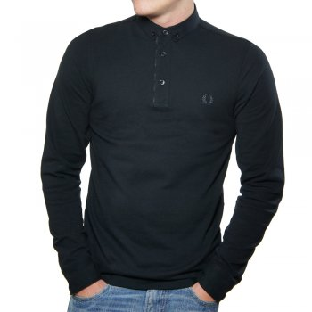 Fred Perry M1363 Long sleeve Woven Collar Polo Shirt Black