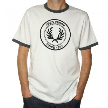 Fred Perry Round Logo Flock T Shirt in Light Ecru