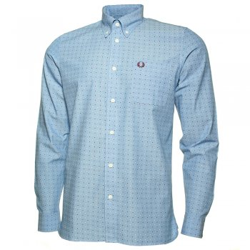 Fred Perry Double Dot Long Sleeve Shirt in Turquoise