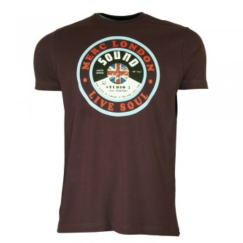 Merc London Dunes Record T Shirt in Mahogany