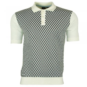 Merc London Delray Knitted Polo in Vintage White
