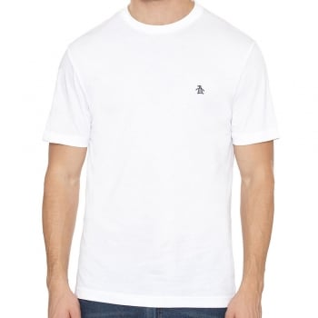 Original Penguin Pin Point Embroidered Logo T Shirt in White