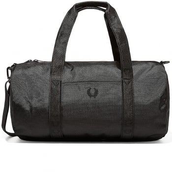Fred Perry Tonal Track Barrel Bag in Black