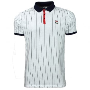 Fila BB1 Polo in White Navy and Red