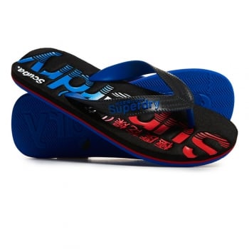 Superdry Scuba Faded Flip Flop in Black and Cobalt