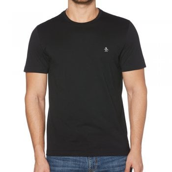 Original Penguin Pin Point Embroidered Logo T Shirt in True Black