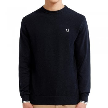 Fred Perry Textured Front Panel Jumper in Navy