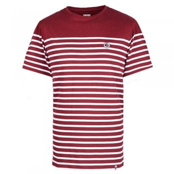 Pretty Green Breton Stripe T Shirt in Burgundy