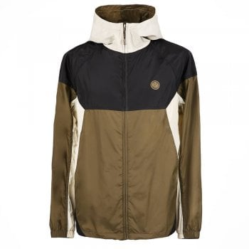 Pretty Green Zip Through Hooded Contrast Jacket in Khaki and Black