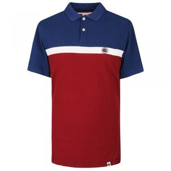 Pretty Green Front Colour Block Polo Shirt in Burgundy