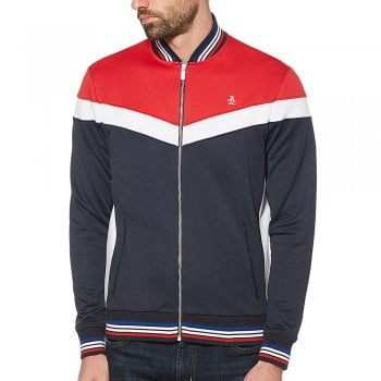 Original Penguin Colour Block Track Top in Lipstick Red