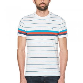 Original Penguin Engineered Stripe T Shirt in Bright White
