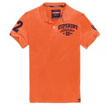 Superdry Classic Superstate Pique Polo Shirt in Fluro Orange