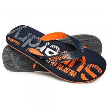 Superdry Scuba Faded Flip Flop in Navy and Fluro Orange
