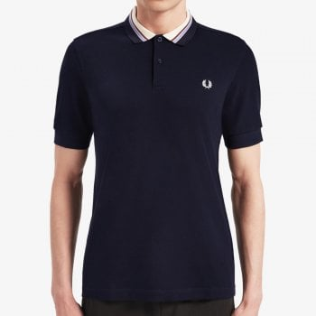 Fred Perry Stripe Collar Pique Shirt in Navy