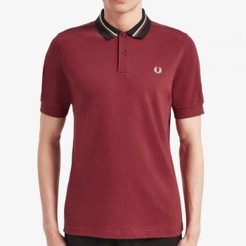 Fred Perry Stripe Collar Pique Shirt in Maroon