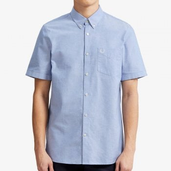 Fred Perry Classic Short Sleeve Oxford Shirt in Light Smoke