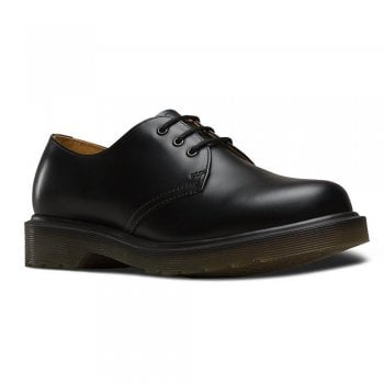 Dr Martens Mens Black 3 Eyelet 1461 PW Plain Shoe