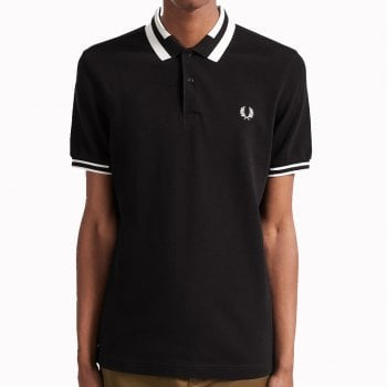 Fred Perry Block Tipped Polo Shirt in Black
