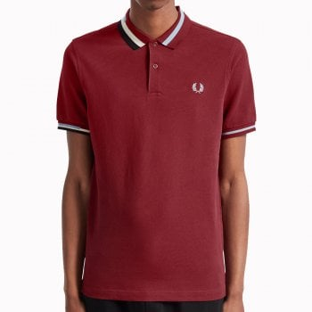 Fred Perry Abstract Collar Pique Shirt in Dark Red