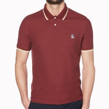 Original Penguin Logo Tipped Polo Shirt in Tawny Port