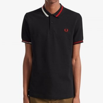 Fred Perry Abstract Collar Pique Shirt in Black