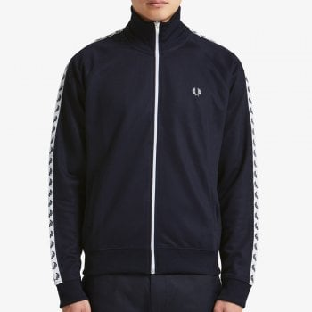 Fred Perry Laurel Tape Track Jacket in Carbon Blue
