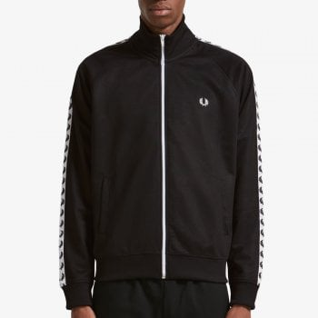 Fred Perry Laurel Taped Track Jacket in Black