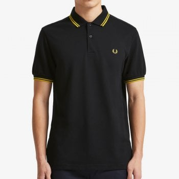 Fred Perry Twin Tipped Polo Shirt in Black and New Yellow