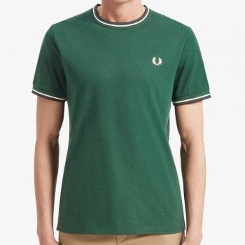 Fred Perry Twin Tipped Tee In Ivy green