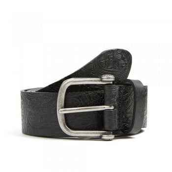 Pretty Green Paisley Embossed Black Leather Belt