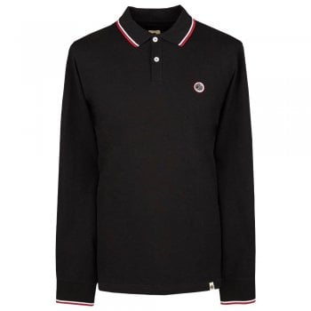 Pretty Green Men's Long Sleeve Pique Polo Shirt In Black