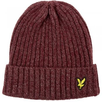 Lyle and Scott Mouline Beanie Grenadine Red/Dark Navy