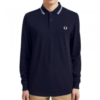 Fred Perry Long Sleeve Twin Tipped Shirt Navy