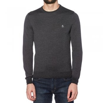 Original Penguin Merino Wool Knitwear in Dark Charcoal Heather