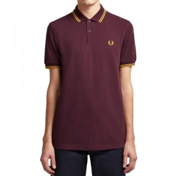 Fred Perry MENS M3600 J29 MAHOGNY/GOLD/GOLD TWIN TIPPED POLO SHIRT