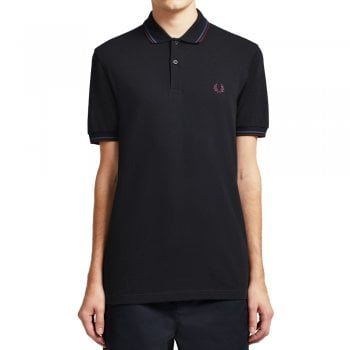 Fred Perry MENS M3600 J30 BLACK/MIDBLU/MAH TWIN TIPPED POLO SHIRT