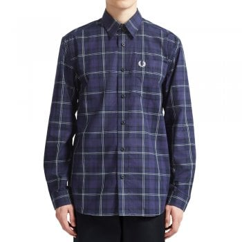 Fred Perry Button Through Tartan Shirt in Medieval Blue