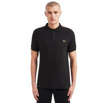 Fred Perry Taped Shoulder Polo Shirt in Black