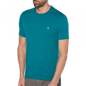 Original Penguin Pin Point Embroidered Logo T Shirt in Caribbean Sea