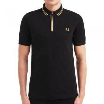 Fred Perry Tipped Placket Polo Shirt in Black