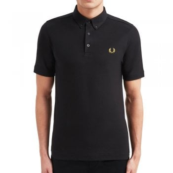 Fred Perry Button Down Polo Shirt in Black