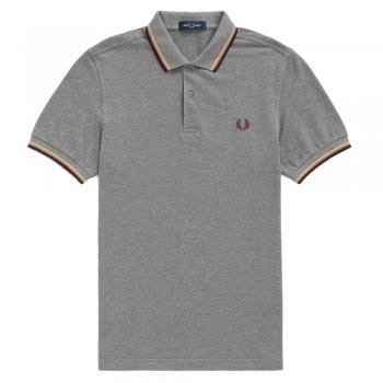 Fred Perry M3600 Grey Marl/Champagne/Mahogany 961