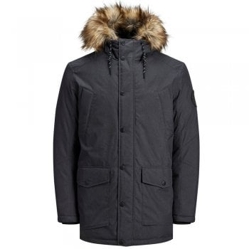 Jack and Jones Faux Fur Lined Parka In Dark Grey Melange