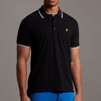 Lyle and Scott Men's Tipped Polo Shirt in Jet Black/White