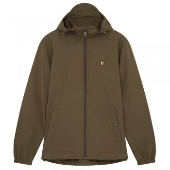 Lyle and Scott Zip Through Hooded Jacket in Olive