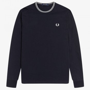 Fred Perry Twin Tipped Long Sleeve T-Shirt in Navy