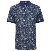 Mens Paisley Print Polo Shirt in Navy