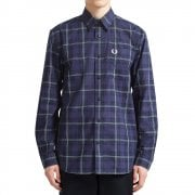 Button Through Tartan Shirt in Medieval Blue